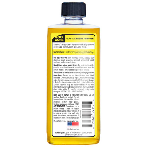 Goo Gone 2087 - Goo & Adhesive Remover, 8 oz.  - Back