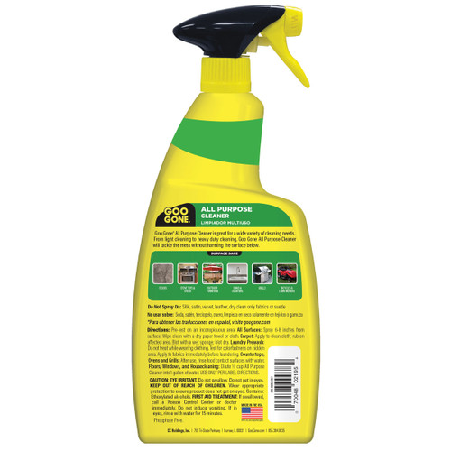 Goo Gone 2195 - All Purpose Cleaner 32 oz. Trigger - Back of bottle