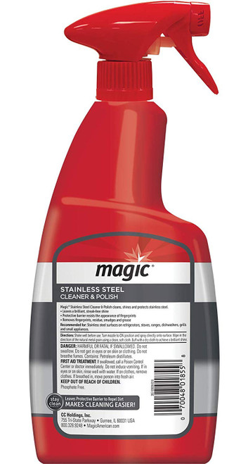 Magic Cleaners 3057 -Magic Stainless Steel Cleaner and Polish  - 24 oz. Trigger - Back