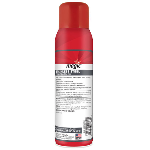 Magic Cleaners 3062 - Stainless Steel Cleaner & Polish, 17 oz. Aerosol - Back of can