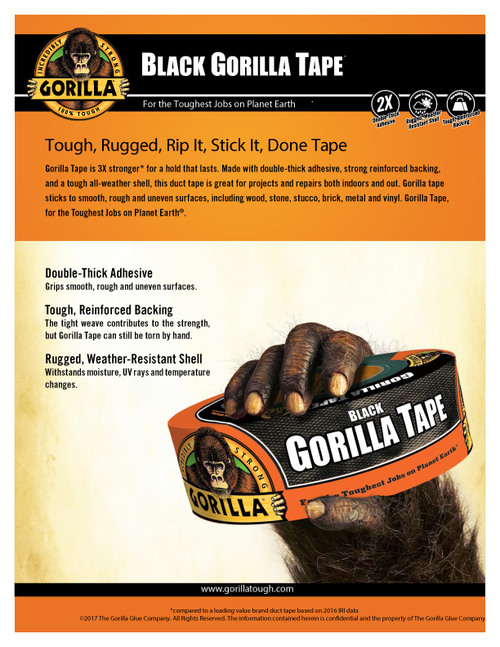 Gorilla Glue 6003001 - Black Wide Tape (30 Yd. X 2.88 In.) - Sell Sheet