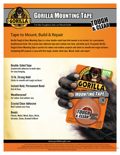 Gorilla Glue 6065003 - Clear Mounting Tape (60 In.) - Sell Sheet