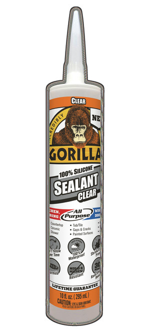 Gorilla Glue 8050002 - Clear Silicone Sealant (10 Oz. Cartridge)