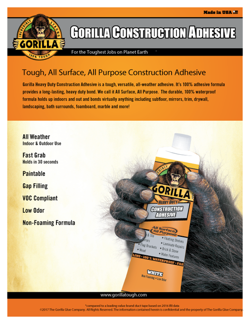 Gorilla Glue 8020002 - Construction Adhesive (2.5 Oz. Tube) - Sell Sheet