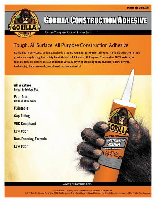 Gorilla Glue 8010003 - Construction Adhesive (9 Oz. Cartridge) - Sell Sheet