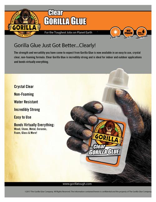 Gorilla Glue 4500102 - Clear Glue (1.75 Oz.) - Sell Sheet