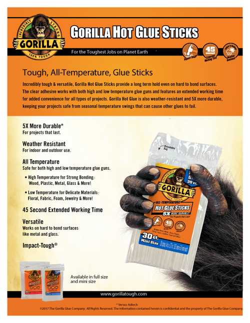Gorilla Glue 3023003 - Hot Glue 4 In. Mini - 30 Ct - Sell Sheet