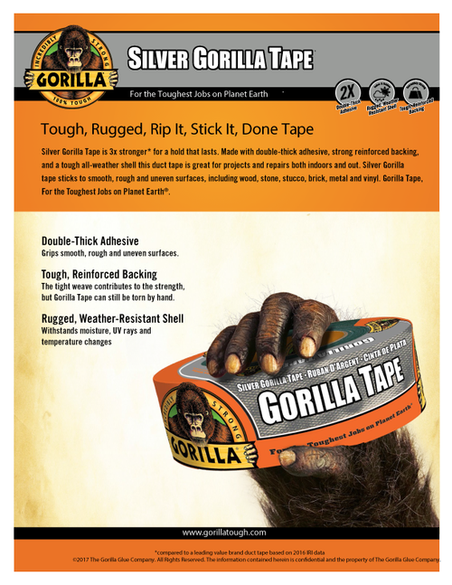 Gorilla Glue 6074001 - Silver Tape (35 Yd.) - Sell Sheet