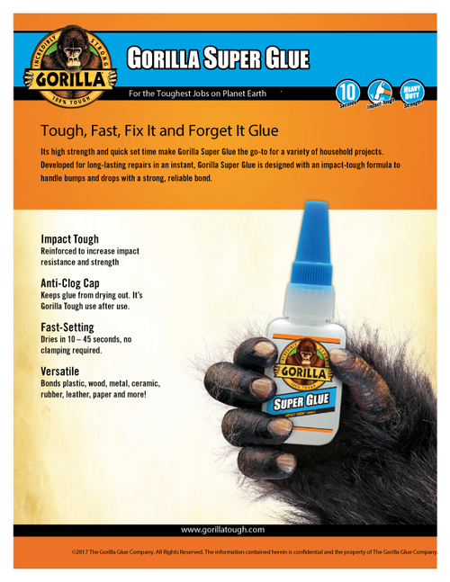 Gorilla Glue 7805009 - Super Glue (15 Gram Bottle) - Sell Sheet