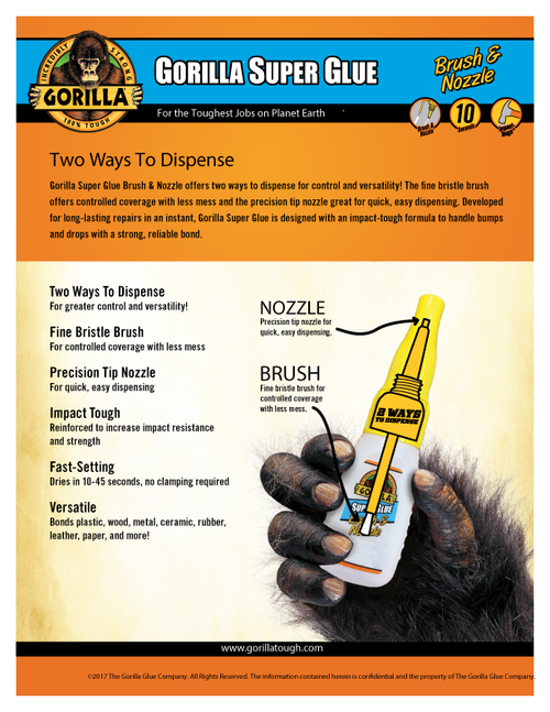 Gorilla Glue 7500102 - Super Glue Brush&Nozzle (1.75 Oz.) - Sell Sheet