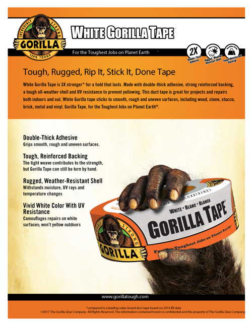 Gorilla Glue 6025001 - White Tape (30 Yd.) - Sell Sheet