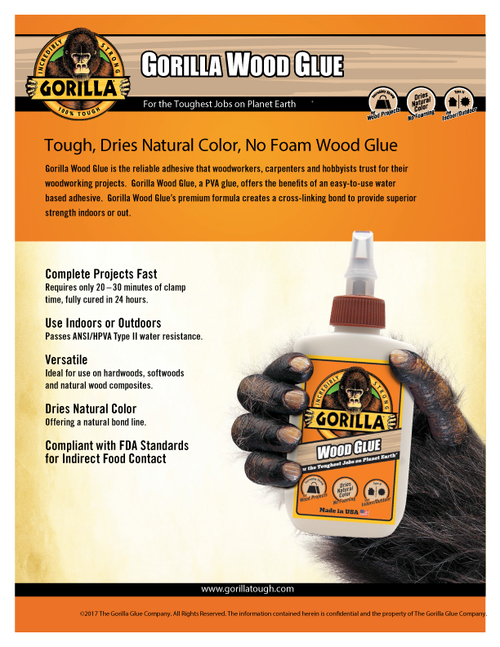 Gorilla Glue 6200002 - Wood Glue (8 Oz.) - Sell Sheet