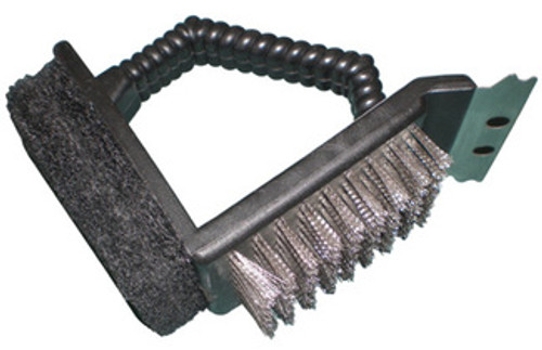 Music City Metals 77350 - 2-Way Grill Brush with scrubber and scraper