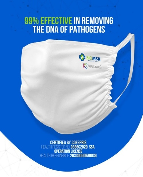 BIOMSK AD- Reusable Cloth Facemask with NBELYAX® Nanomolecules - 99% Effective in removing the DNA of Pathogens