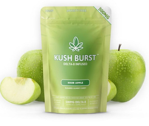 Kush Burst Sour Apple Delta 8 Infused Gummies 500MG