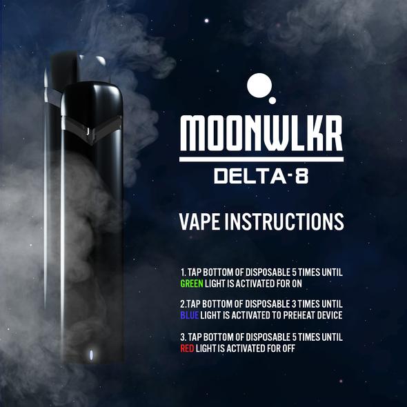 MoonWlkr Delta-8 THC Disposable Vape - Strawnana Instructuions