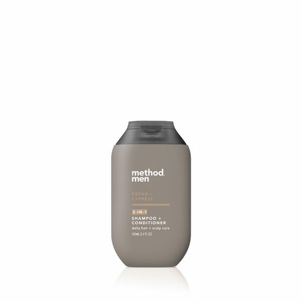 cedar + cypress travel 2-in-1 shampoo + conditioner, 3.4 fl oz-