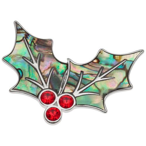 Tide Jewellery inlaid Paua shell Holly brooch