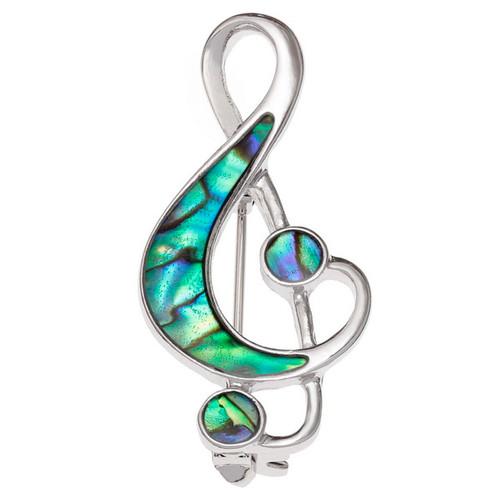 Tide Jewellery inlaid Paua shell Treble clef music note brooch