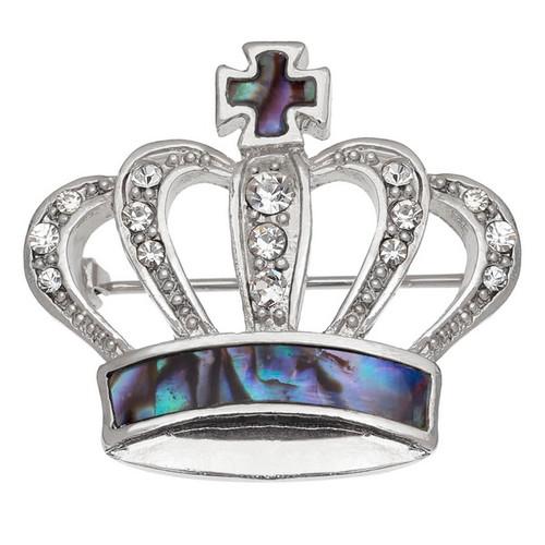 Tide Jewellery inlaid Paua shell Crown brooch