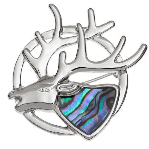 Tide Jewellery inlaid Paua shell Stag brooch