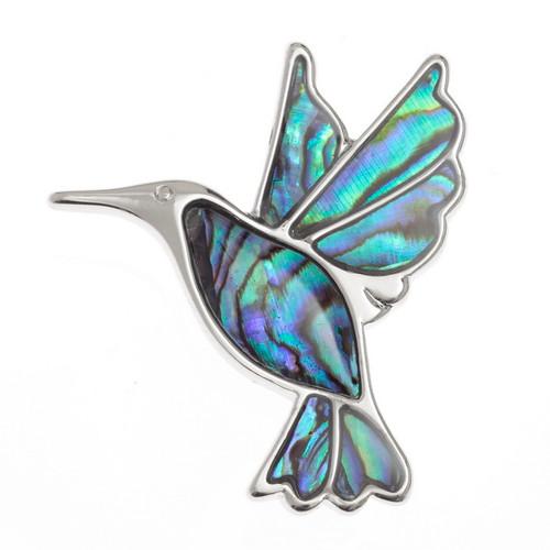 Tide Jewellery inlaid Paua shell Hummingbird brooch