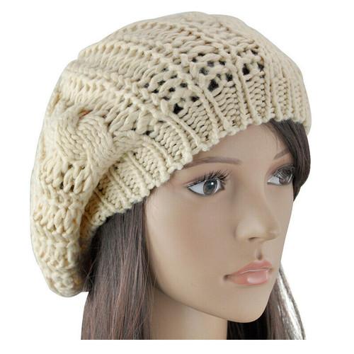 Beige Women Fashion Warm Winter Beret Braided Crochet Knitting Baggy Beanie Hat