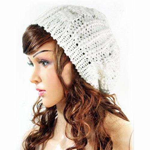 White Women Fashion Warm Winter Beret Braided Crochet Knitting Baggy Beanie Hat