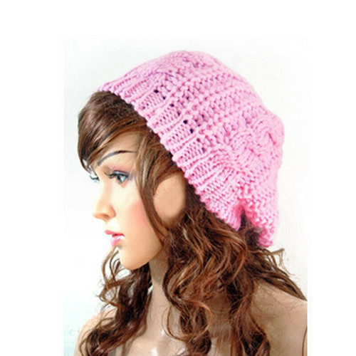 Rose pink  Women Fashion Warm Winter Beret Braided Crochet Knitting Baggy Beanie Hat