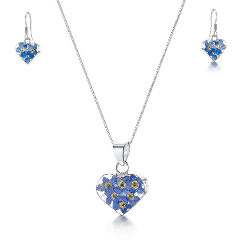 925 Silver Pendant & Earrings Set - Real Flower -  Small Heart