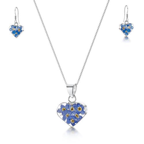 925 Silver Pendant & Earrings Set - Real Flower -  Small Heart