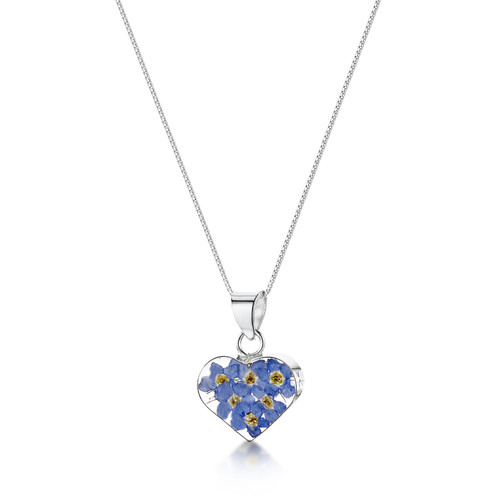 925 Silver Pendant - Real Flower - Small Heart
