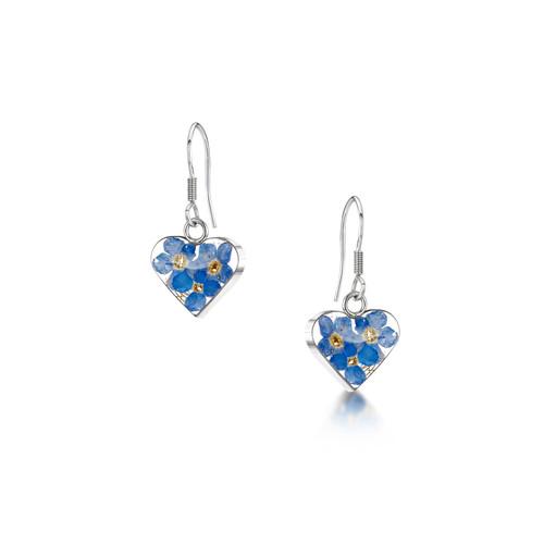 925 Silver drop Earrings - Real Flower - Small heart