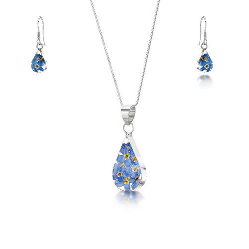 925 Silver Pendant & Earrings Set - Real Flower -  Teardrop