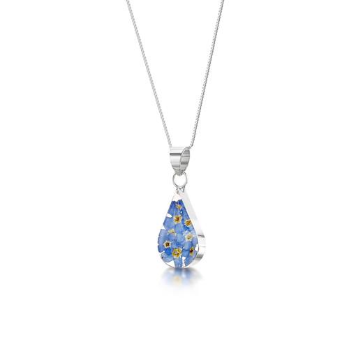 925 Silver Pendant - Real Flower - Teardrop