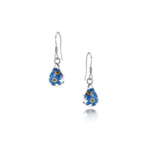 925 Silver drop Earrings - Real Flower - Teardrop