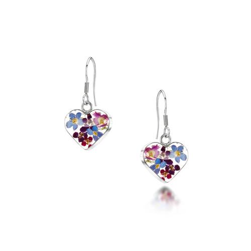 925 Silver drop Earrings - Real Flower - Sm Heart