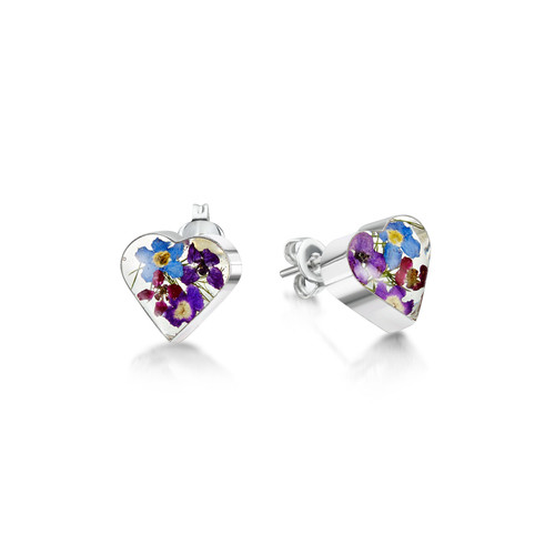 925 Silver stud Earrings - Real Flower - Heart