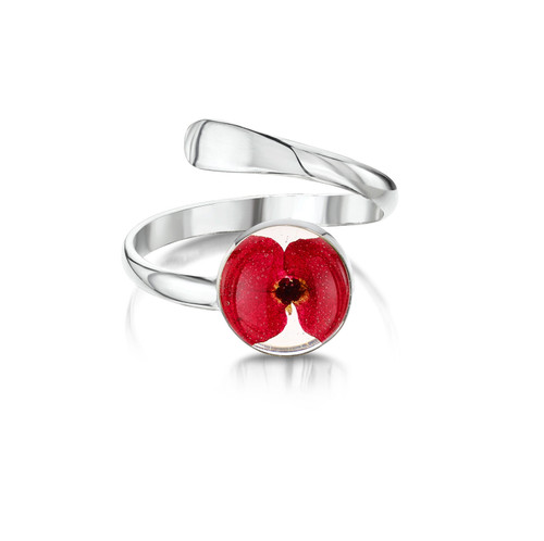 925 Silver Adjustable Poppy Ring - Mixed Real Flower