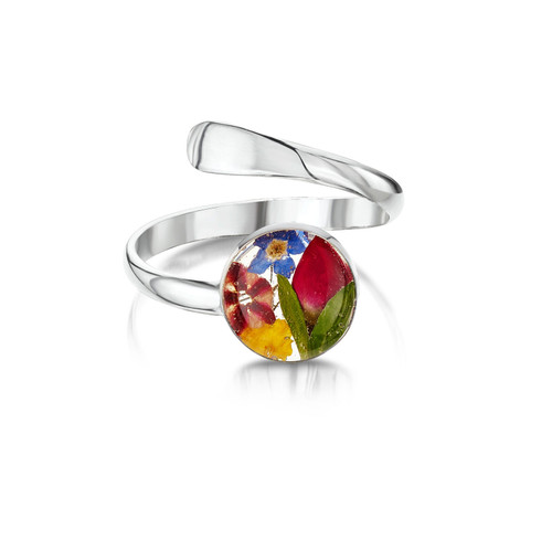 925 Silver Adjustable Tulip Ring - Mixed Real Flower