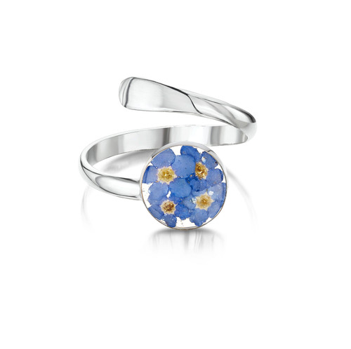 925 Silver Adjustable Blue Flower Ring - Mixed Real Flower