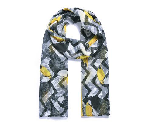 Black/Yellow Toucan Digital Print Scarf