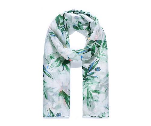 Green Leafy Print Scarf