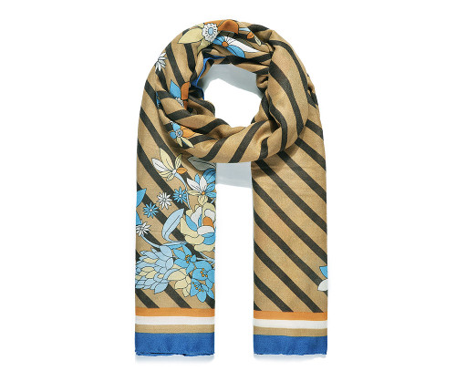 Blue Stripe Floral Print Scarf