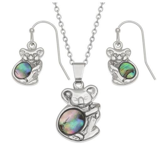 Tide Jewellery inlaid Paua shell Koala pendant and earring set
