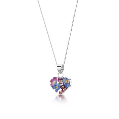 925 Silver Pendant - Real Flower - Sm Heart