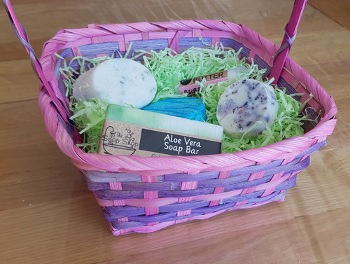 Purple and Blue Gift Basket