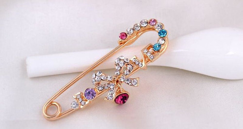 Bow Knot Korean Pins with Crystal rhinestone Brooch