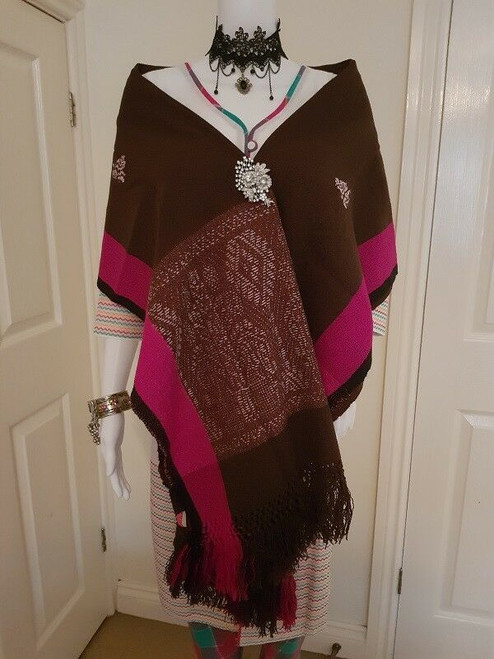 Brown and Pink Monipuri Shawl