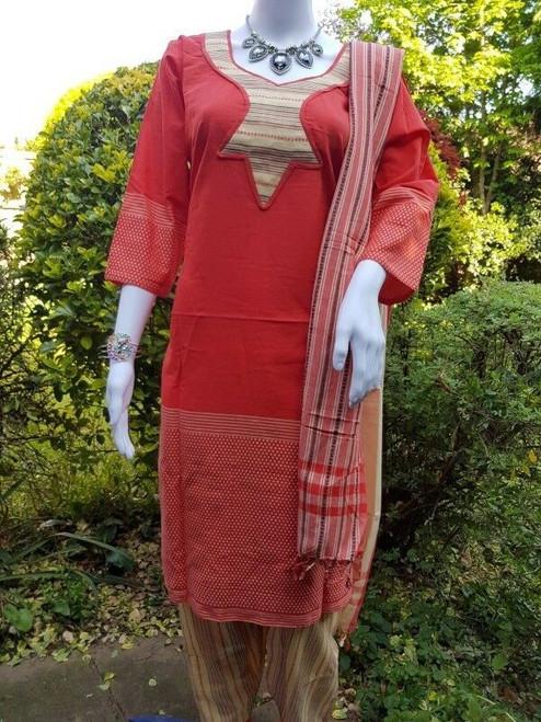 Deep Red Monipuri Salwar Kameez - XLarge